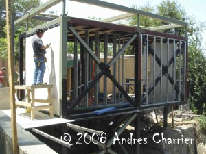 This shot depicts the new Darwins Frog breeding facility as it was being built at the national Zoo in Santiago.  The public will be able to see exactly what is happening in the facility as one entire wall of the structure is glass.