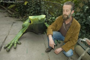 To draw people to the breeding facility at the National Zoo, we had the famous Chilean artist Bernardo Oryan build a large Darwin's Frog.  The statue will be placed immediately next to the breeding facility.
