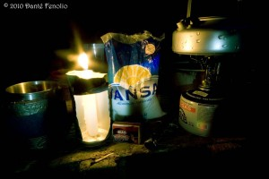 A makeshift lantern illuminates our supplies to make breakfast before dawn.