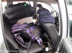 Field trips are busy. Gear takes up much of the room in the field vehicles.