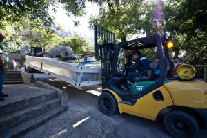 Forklifts were used to carry the PMODS up the narrow pathways of the zoo